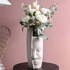 Unique Abstract Face Vase Modern Sculpture NWT